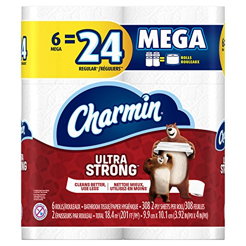 61JDX6opRVL - Charmin Ultra Strong Toilet Paper, Mega Roll, 24 Count (Packaging May Vary)