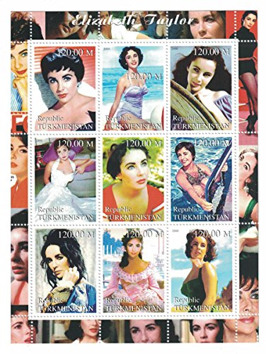 [Stamps for collectors - Elizabeth Taylor perforated stamp sheet featuring the actress in various film roles / Costumes /] (Postage Stamp Costume)