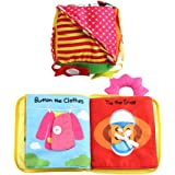 Flameer 2 Set Baby Toddler Early Learning Basic Life Skills Toy - Montessori Learn to Dress Soft Book & Cube