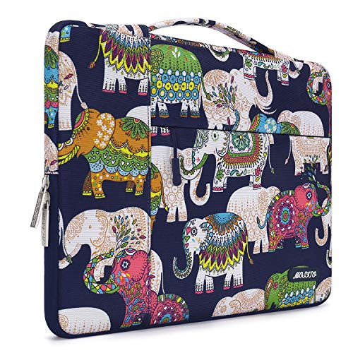 MOSISO Laptop Briefcase Handbag Compatible 13-13.3 Inch MacBook Air, MacBook Pro, Notebook Computer, Polyester Multifunctional Carrying Sleeve Case Cover Bag, Elephant Navy Base