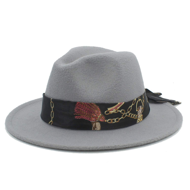 KKONION Fedora Hats with Gentleman Elegant Lady Winter Autumn Wide Brim Jazz Church Godfather Sombrero Cap