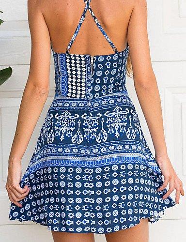 PU&PU Robe Aux femmes Trapèze Décontracté Licou Au dessus du genou Mélanges de Coton , blue-l , blue-l