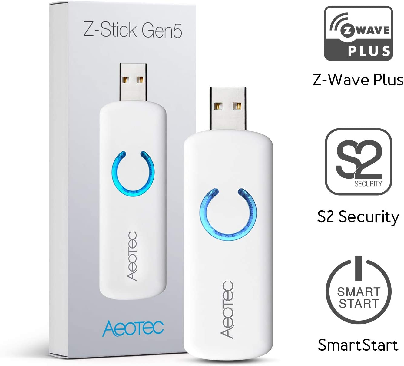 Aeotec Z-Stick Gen5 Plus, Z-wave Plus USB to Create Z-Wave Gateway, Zwave Hub Controller Pro 2020 SmartStart and S2 Enabled, Works with Raspberry Pi 4, Compatible with SmartThings, HomeSeer, White