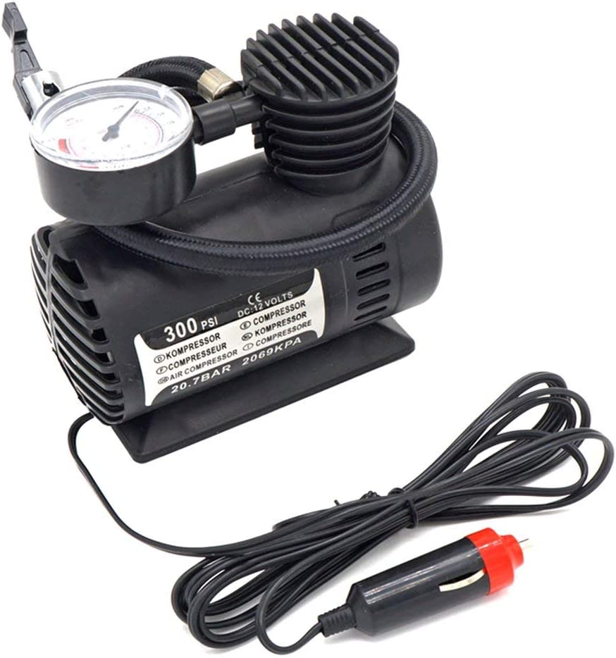 Yiyaqeanca Mini Air Compressor Electric Pump ABS Automotive Durable Vehicle Air Pump 300 PSI Tire Inflator Pump DC 12V Car Parts