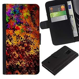 All Phone Most Case / Oferta Especial Cáscara Funda de cuero Monedero Cubierta de proteccion Caso / Wallet Case for Samsung Galaxy S5 Mini, SM-G800 // Colorful Autumn Seasons Art Painting Leaves