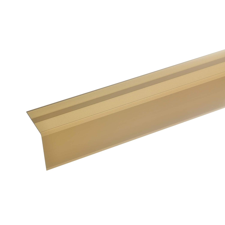 Robust acerto 51131 Aluminium Treppenwinkel-Profil 135cm 42x40mm bronze dunkel Treppenstufen-Profil Alu Selbstklebendes Treppenkanten-Profil Rutschhemmend Leichte Montage Treppenkanten-Profil