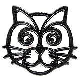 Home-X Cast Iron Trivet, Cat Face