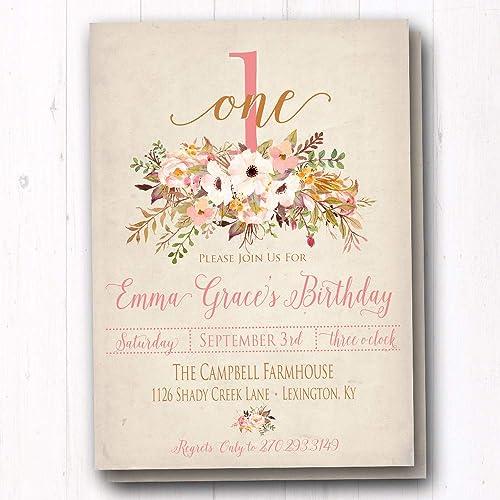 Vintage Rose Birthday Party Invitations