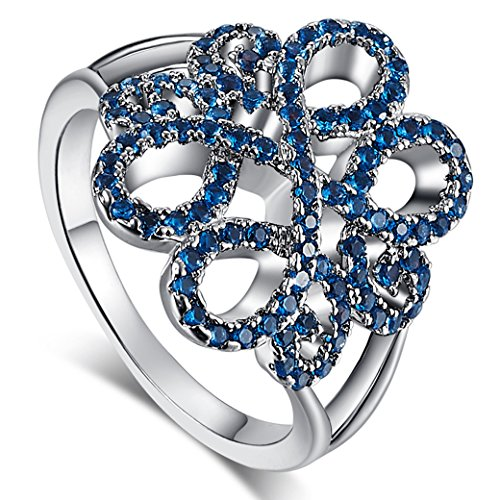 (Veunora 925 Sterling Silver Created Flower Blossom Blue Topaz Ring Jewelry Size 9)
