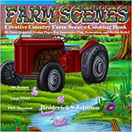 amazon com creative country farm scenes coloring book 30 farm