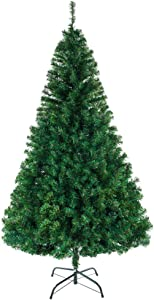 Bonnlo 6 Feet Unlit Artificial Christmas Pine Tree with Sturdy Metal Legs, Full 1050 Tips Branch for Indoor and Outdoor, Green