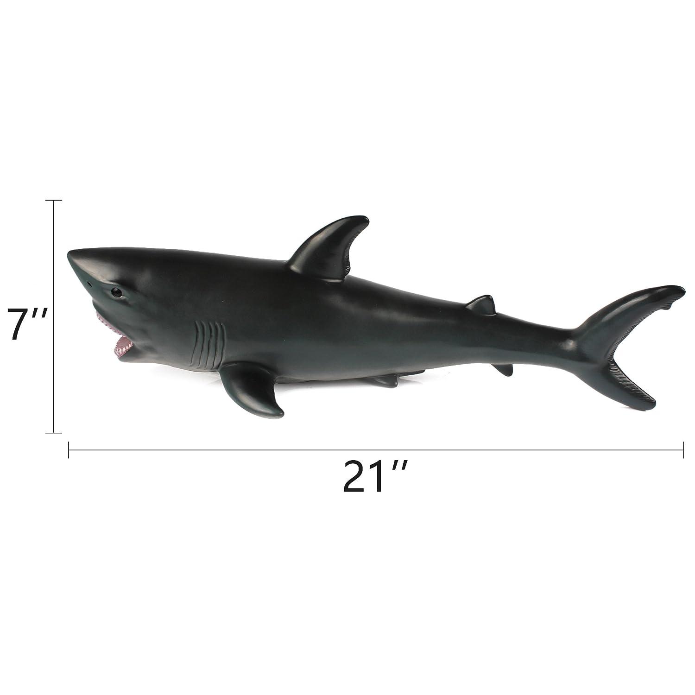 amazon com white soft foam shark toy shark figure playset