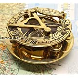 Fascinating Solid Brass Sundial Clock with Inset Compass & Engraved Vane. 3 Inches