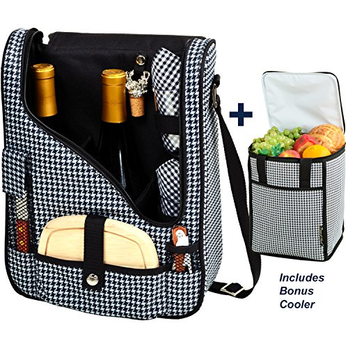 Picnic at Ascot Original Wine and Cheese Tote for 2 with Matching Cooler - Designed & Assembled in California - Houndstooth (Wine Cheese Cooler)
