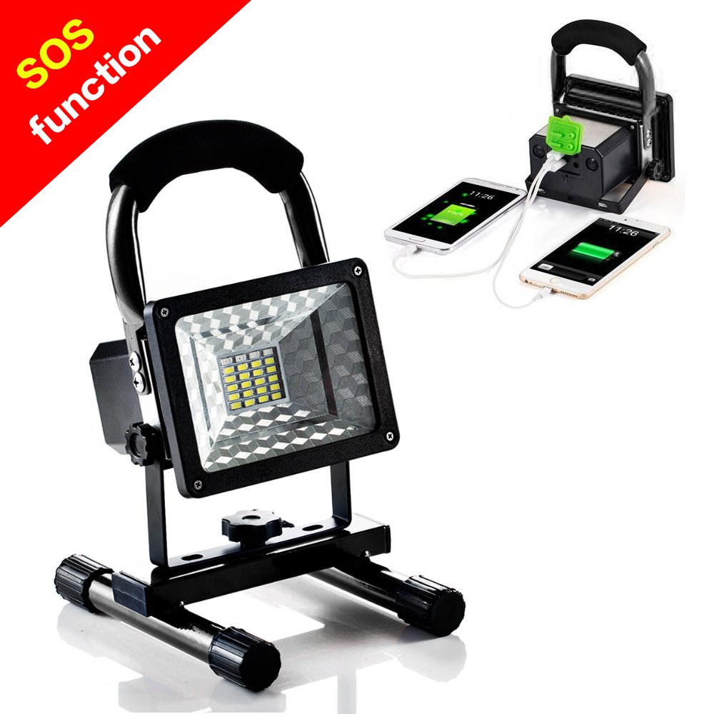 [15W 24LED] Rechargeable Work Light, BESWILL Outdoors Camping Emergency Light with SOS Mode, Portable Floodlight with Built-in Lithium Batteries and 2 USB Ports to Charge Digital Devices(Black)