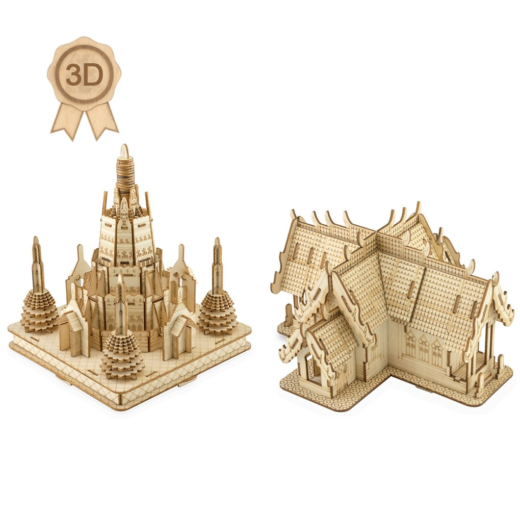 Bitopbi 3D Wooden Puzzles Laser Engraving DIY Safe Assembly Constructor Kit Toy for Kids Teens and Adults, World Famous Buildings Mechanical 3-D Models for Self-Assembly (Temple of Dawn+Marble Temple)