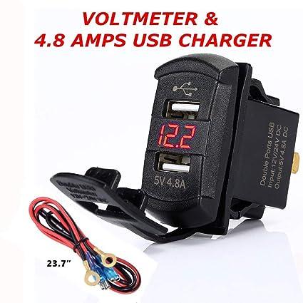 Amazon.com: Cargador estilo balancín USB con voltímetro azul ...
