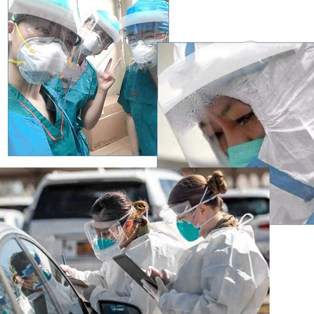 Coota Face Shield Lot de 10 visi/ères de protection du visage avec visi/ère claire transparente /Écoute lentille anti-bu/ée Bouclier transparent l/éger avec bande /élastique r/églable pour hommes et femmes