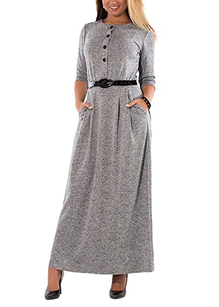 9868e16a856f LazLake Damen Bodenlanges Kleid Elegant Langarm Maxikleid Rundhals High  Waist Casual Lange Kleid mit Taschen Q0357