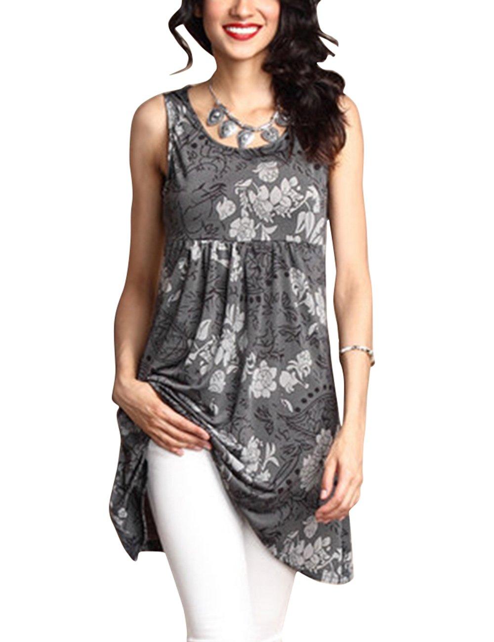 Shineya Women's Fashion Floral Print Tunic Long Tank Top O Neck Sleeveless Blouses with Plus Size, Grey, XXX-Large