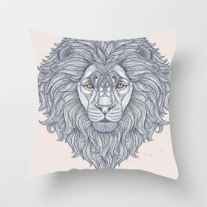Cabeza de león africano Dibujo a mano Líneas