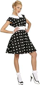 Disfraz Mujer Rockabilly de Puntos Blancos y Negros Vestido ...