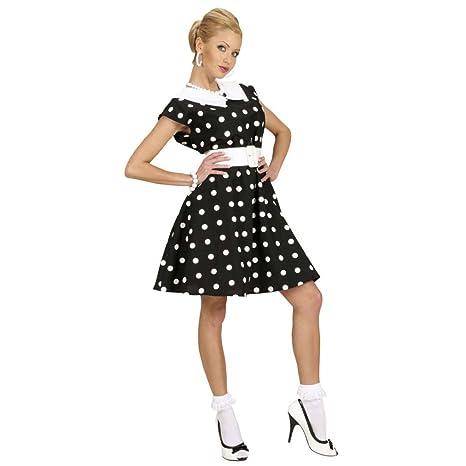 5705d38f4d Disfraz Mujer Rockabilly de Puntos Blancos y Negros Vestido Petticoat años  50 M 38 40