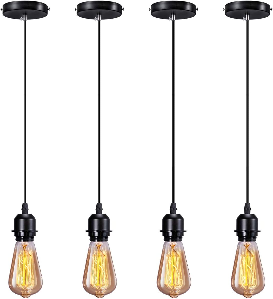 Elibbren Industrial Mini Pendant Light Kit E26 E27 Base Edison Vintage Style Black Cord Hanging Light Fixture with UL Lamp Holder for Kitchen Bedroom Home Corridor Studio Office 4 Pack