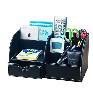 Yiuswoy Creative Leather Desk Caddy Organizer,Desktop Stationery Storage  Box,Office Supplies,Desk