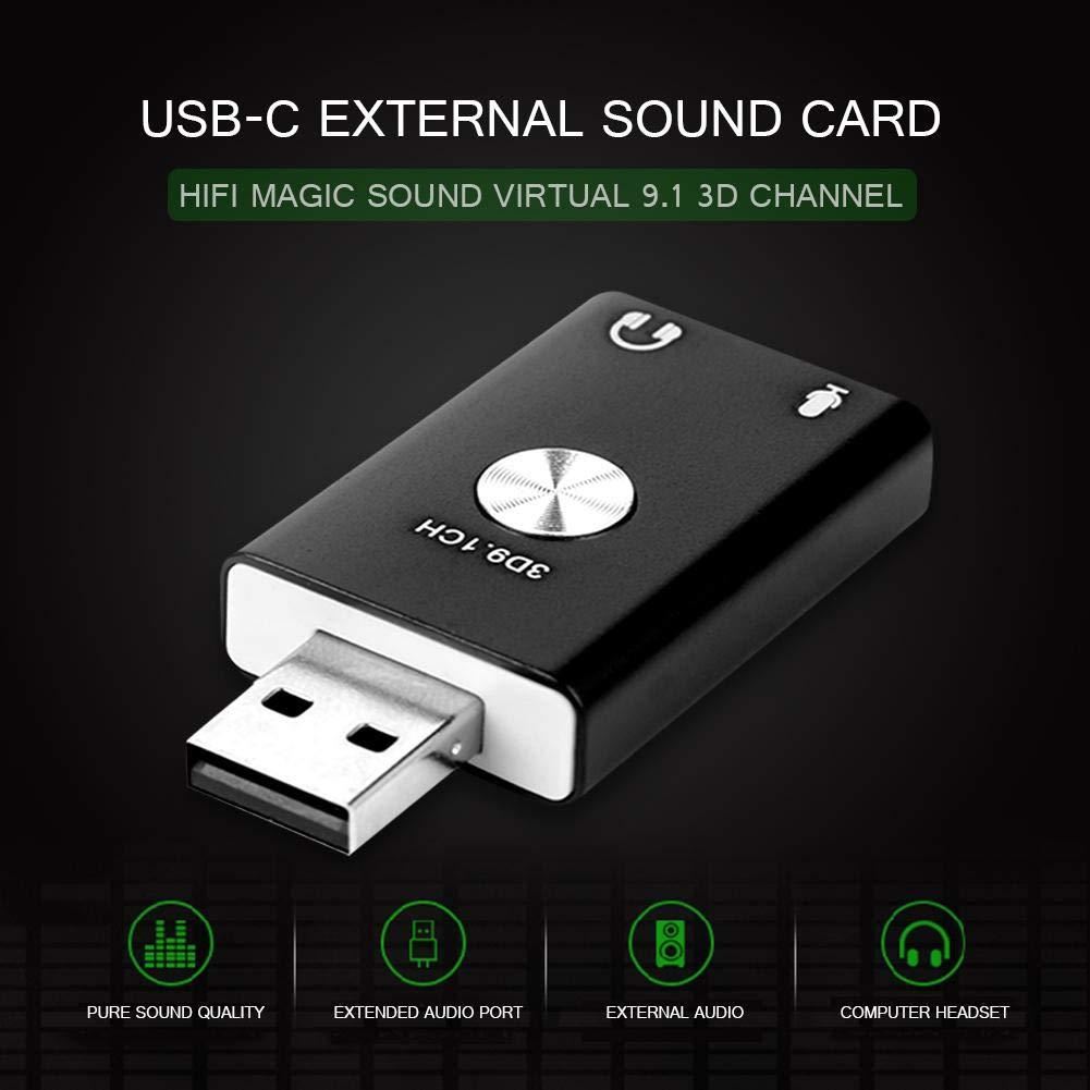 Asiproperuk - Tarjeta de Sonido USB 9.1 CH, Adaptador de Tarjeta ...