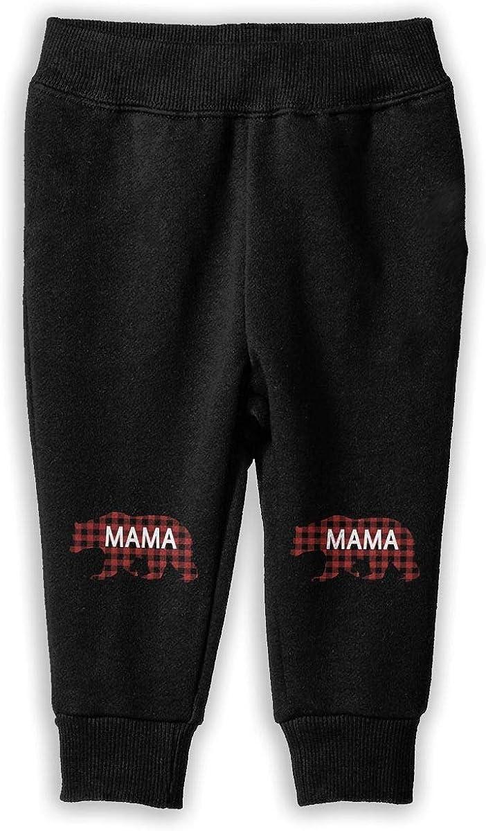 Red Buffalo Plaid Bear Mama Unisex Kid Toddler Pants Soft Cozy Girls Boys Jogger Play Pant