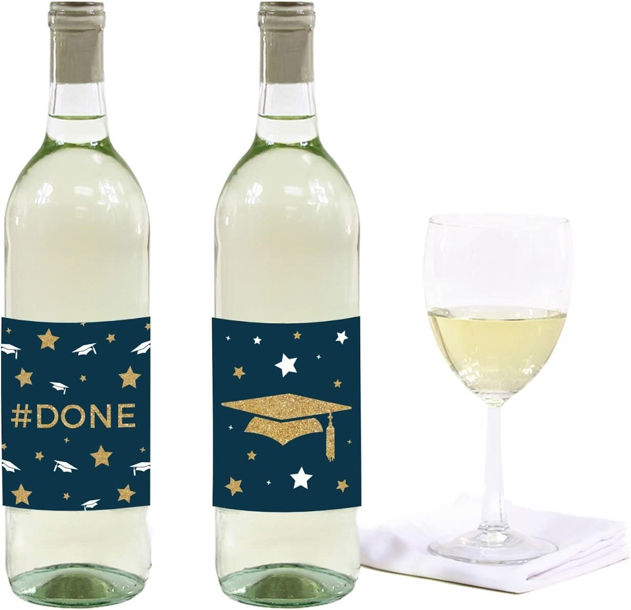 Andaz Press Navy Blue and Gold Glittering Graduation Party Collection, Wine or Apple Cider Bottle Labels, 8-Pack
