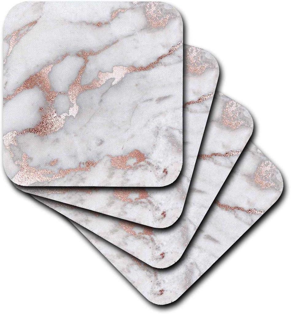 3dRose Image of Chic Trendy Copper Rose Marble Agate Gemstone Rock Quartz Ceramic Tile Coasters, Set-of-4, Gold/Brown/Grey