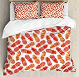 Ambesonne Orange Duvet Cover Set King Size, Vintage Pattern of Tropical Exotic Climate Fruits Pineapples Hawaii Summer Design, Decorative 3 Piece Bedding Set with 2 Pillow Shams, Orange White