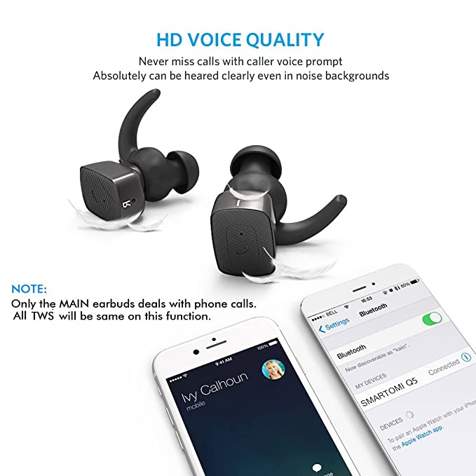 6f3c5b96c78 Buy SMARTOMI Q5 Wireless Bluetooth Sports Headphones Stereo Noise  Cancelling Headsets with Mic Hands-free Phone calls for iPhone 7 6S, 6 Plus  SE 5S, ...