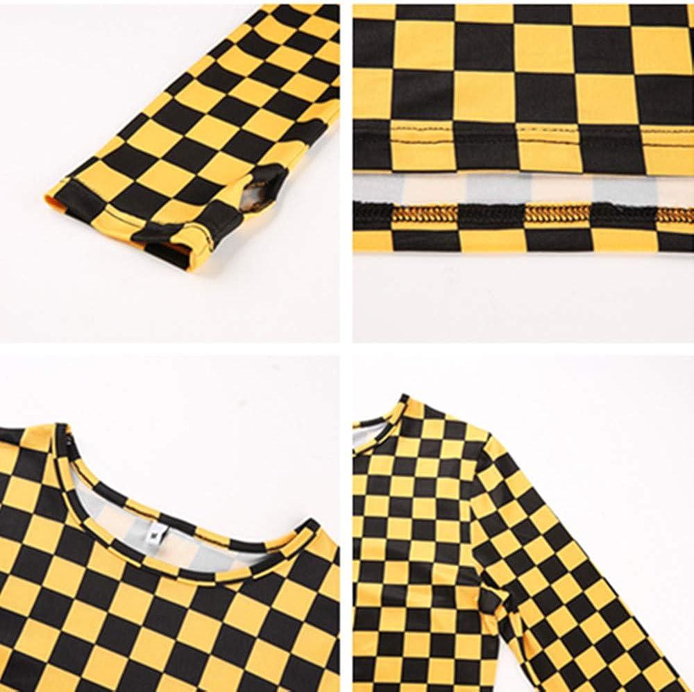 Amarillo, L Camiseta de Manga Larga a Cuadros Amarilla Mujer Streetwear Crop Tops Tees Harajuku Plaid Tshirt Punk Casual tee Shirt
