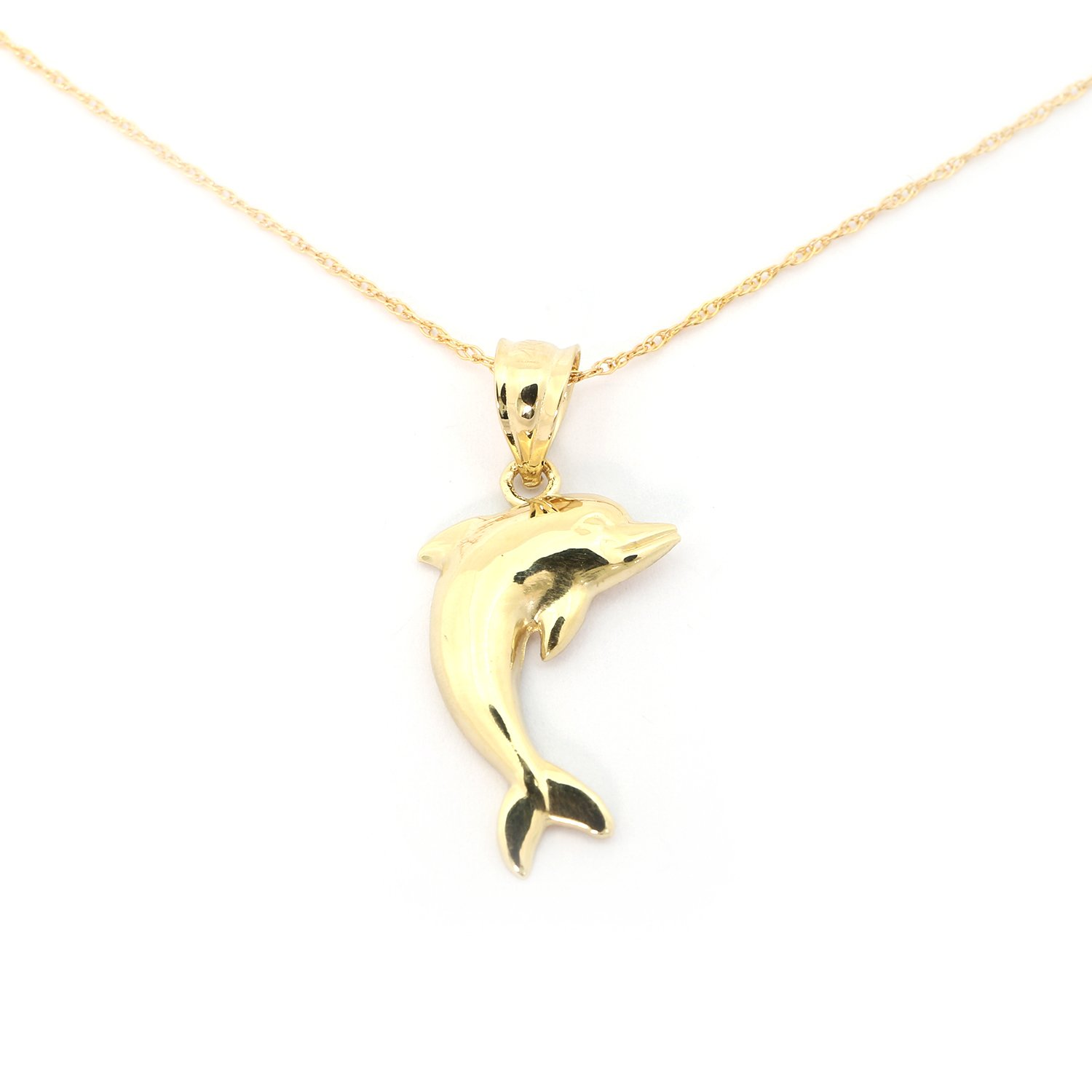 14k Yellow Gold Dolphin Pendant Necklace - 18''
