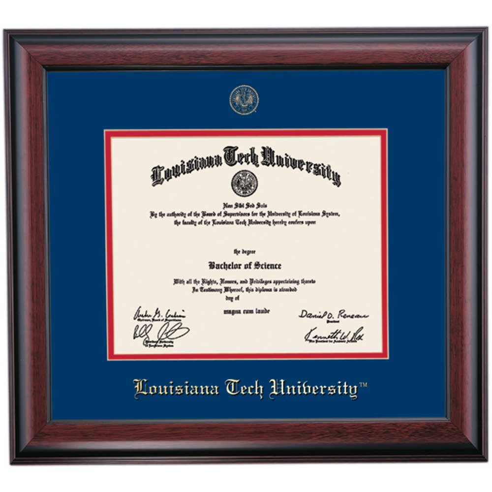 Campus Linens Louisiana Tech Bulldogs Diploma Frame Blue Red Matting Embossed Seal by Campus Linens (Image #1)