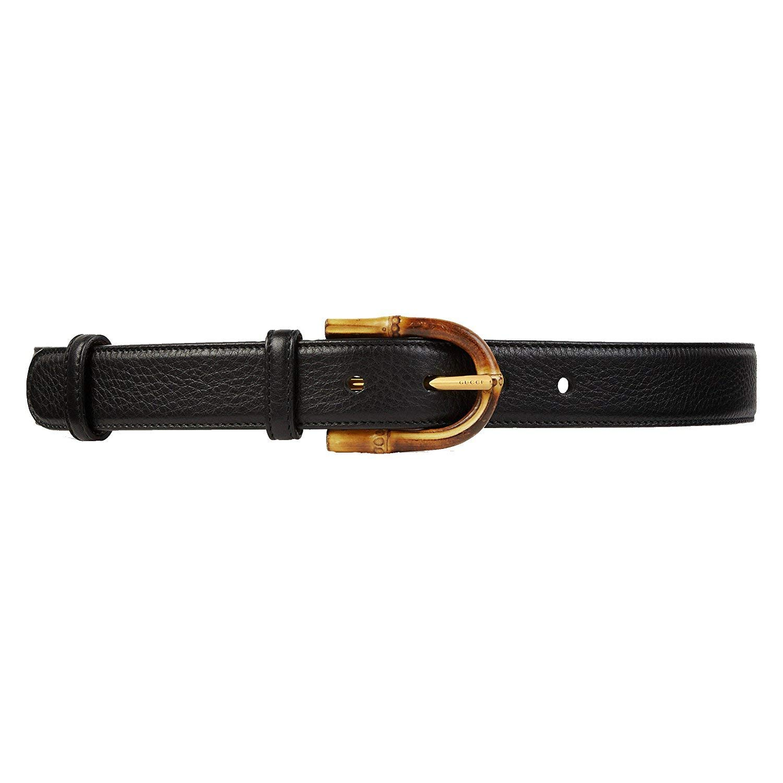 607bbc0d49b Amazon.com  Gucci Women s Black Leather Bamboo Buckle Belt 322954 1000   Clothing