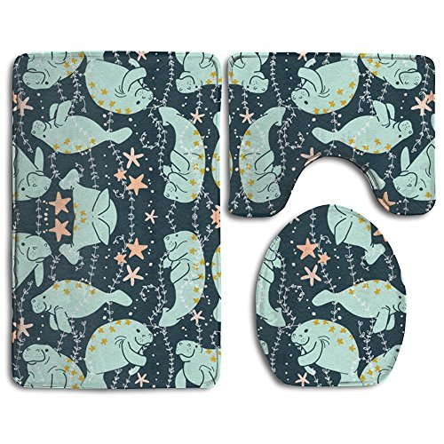 (Hu-Manatee Pattern Skidproof Toilet Seat Cover Bath Mat Lid Cover)