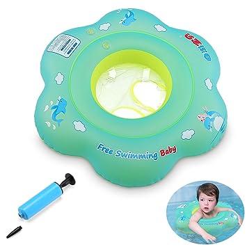 GEYUEYA Home Baby Inflable Anillo de natación Flotador Entrenador Niños Cintura Piscina Flotador para niños Niños pequeños de 2-6 años Azul: Amazon.es: ...
