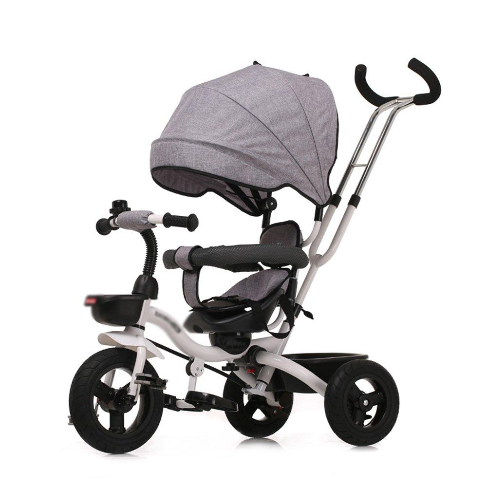 HAIZHEN マウンテンバイク 4-in-1子供用三輪車、高品質のトロリー自転車キッズは、親ハンドルとアンチUV日除け付きの赤ちゃん用3輪自転車用トライクをプッシュします 新生児 B07CCKH225グレー