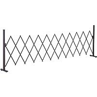 Outsunny Scherengitter Absperrgitter Scherensperre ausziehbar 35-300cm Garten Alu Braun H103,5cm