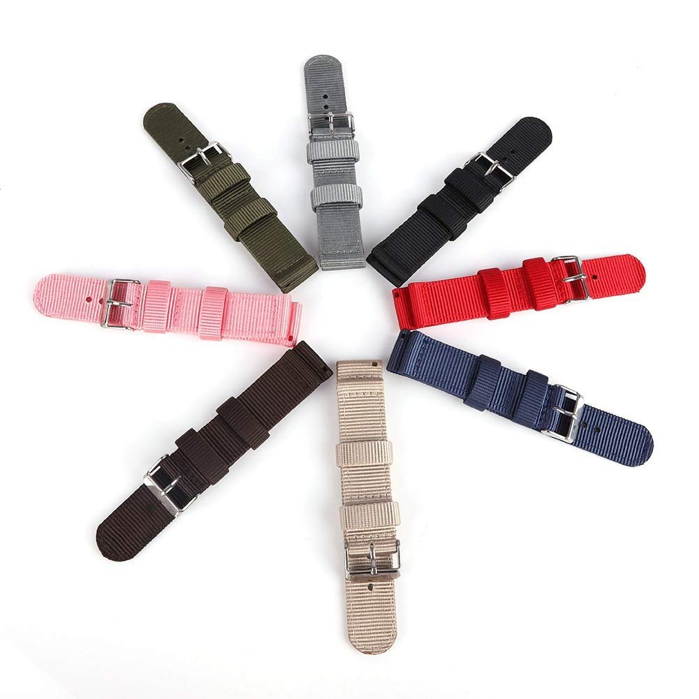 Bornbayb Solid Color Premium Nylon Nato Watch Straps Canvas Fabric Watch Band (Width: 18mm, 20mm, 22mm, 24mm) by Bornbayb (Image #5)