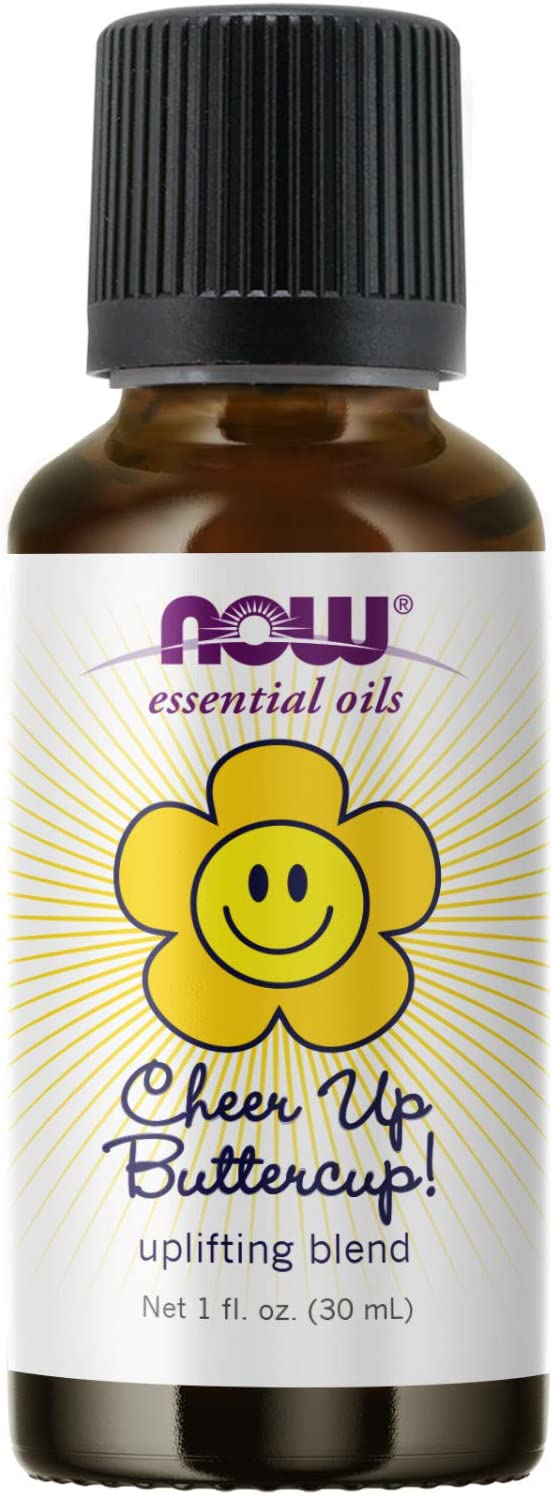NOW Essential Oils, Cheer Up Buttercup! Oil Blend, Uplifting Aromatherapy Scent, Blend Pure Citrus Essential Oils, Vegan, Child Resistant Cap, 1-Ounce