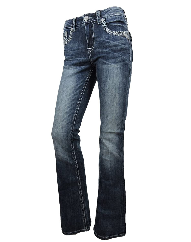 Grace L.A. Idol Women Bootcut Jeans Crystal Tribal Bold Stitching Flap Stretch