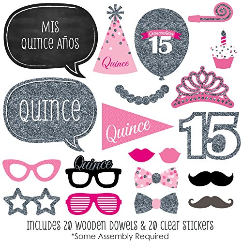 Quinceanera Pink - Sweet 15 - Birthday Party Photo Booth Props Kit - 20 Count by Big Dot of Happiness (Image #1)