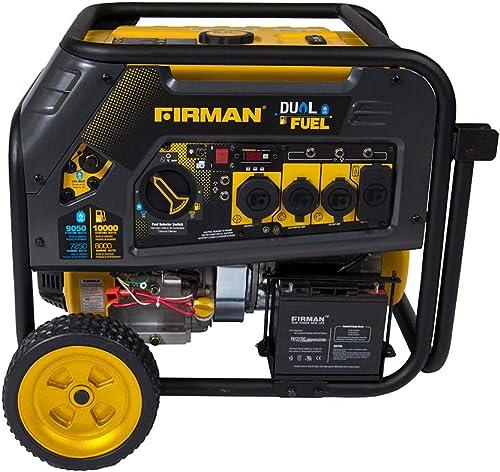 Firman H08051 10000 8000 Watt 120 240V 30 50A Electric Start Gas or Propane Dual Fuel Portable Generator CARB Certified