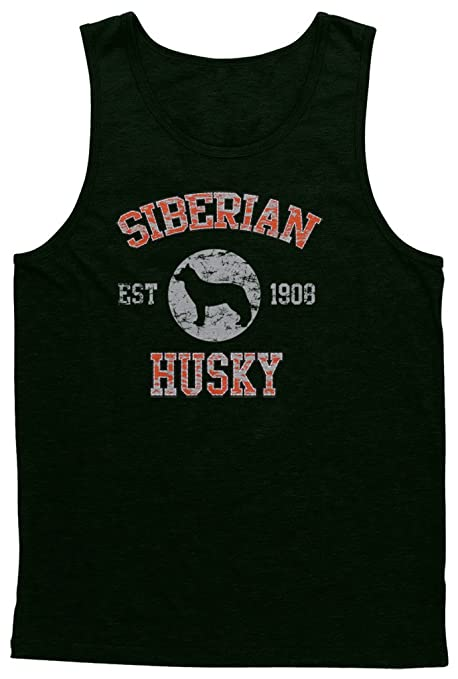 Amazon com: Blittzen Mens Tank Top Siberian Husky Est  1908