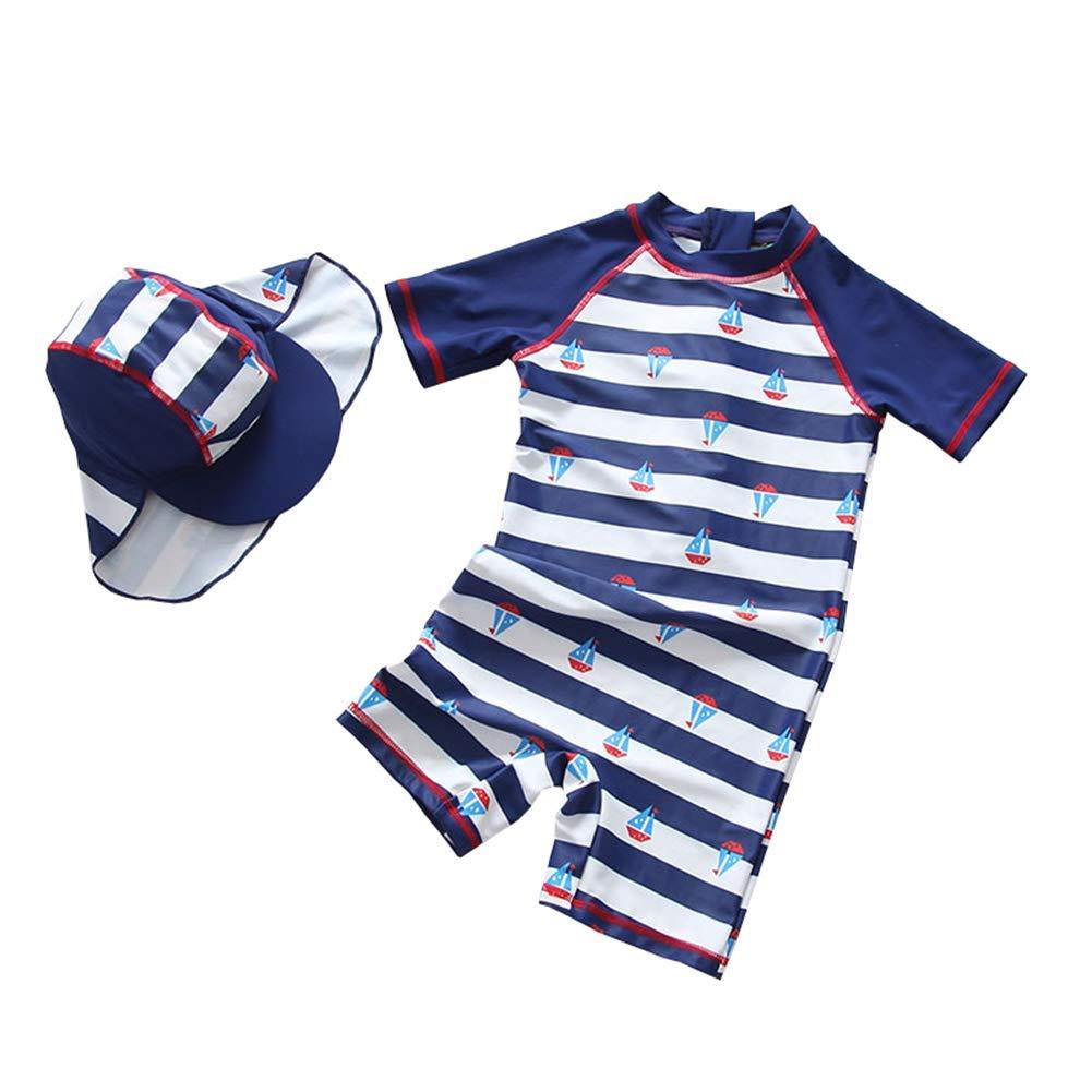Baby Boys Swimsuit Rash Guards One Piece Toddler Kid Stripe Swimwear Surfing Bathing Suit Zip with Hat 1-6t Kimjun ETYZ-161